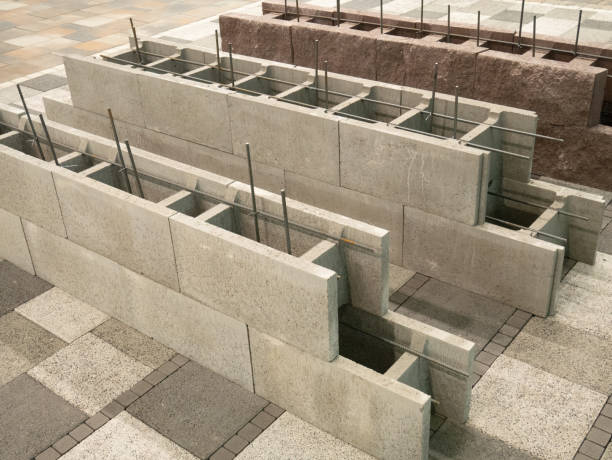 aerated concrete blocks for house building construction, hollow inside for armored cement fill